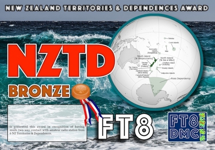 NZTD  AWARD Manager ZL1MVL in recognition of the international 2-way FT8 Amateur Radio communication, the FT8 DIGITAL MODE CLUB (FT8DMC) issues the NZ TERRITORIES & DEPENDENCES AWARD certificates to Amateur Radio Stations of the World. Qualification for the NZTD AWARD is based on an examination by the NZTD  AWARD MANAGER, from QSOs that the applicant has made with Amateur Radio Stations from  ZL1, ZL2, ZL3,ZL4 , ZL6  special event , ZL7  Chatham Island,  ZL5/ZL9 Ross Dependancy  Antartica, ZM special event, ZL8 Kermadec , ZK3 Tokelau, E5  Cook Islands-North/South, E6  Niue. FOLLOWING LEVELS AVAILABLE: BONZE 6,  SILVER 9,  GOLD ALL NZ Territories & Dependences WORKED