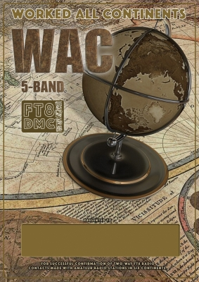 5 Band WAC Award Manager A92AA In recognition of international two-way FT8 amateur radio communication, the FT8 Digital Mode Club (FT8DMC) issues 5 Band Worked-All-Continents certificates to amateur radio stations of the world. Qualification for the FT8 5 Band WAC award is based on an examination by the FT8 5 Band WAC Award Manager, from QSOs that the applicant has made with amateur stations in each of the six continental areas of the world, which are named Africa, Asia, Europe, Oceania, North America and South America on the classic bands 10, 15, 20, 40, 80m. All contacts must be made from the same country or separate territory within the same continental area of the world.