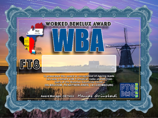 WBA Award Manager OE1SGU In recognition of international two-way FT8 amateur radio communication, the FT8 Digital Mode Club (FT8DMC) issues Worked-Benelux-Award certificates to amateur radio stations and SWL of the world. Qualification for the FT8 WBA award is based on an examination by the FT8 WBA Award Manager. The applicant has to prove that he has made contact with at least 5 different amateur radio stations from each of the Benelux Countries listed: LX, ON and PA. All contacts must be made from the same country (DXCC-entity). Band endorsements for 6, 10, 12, 15, 17, 20, 30, 40, 80 and 160m available.