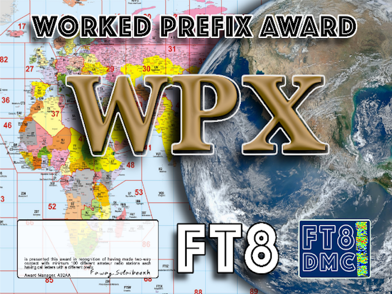 WPX Award Manager A92AA In recognition of international two-way FT8 amateur radio communication, the FT8 Digital Mode Club (FT8DMC) issues Worked-All-Prefix certificates to amateur radio stations of the world. Qualification for the FT8 WPX award is based on an examination by the FT8 WPX Award Manager, from QSOs that the applicant has made contacts with minimum 100 different amateur radio stations each having call letters with a different prefix. Levels: 500, 1000, 1500, 2000, 2500, 3000, 3500, 4000, 4500, 5000 Prefixes All contacts must be made from the same country. Band endorsements for 6, 10, 12, 15, 17, 20, 30, 40, 80 and 160m available.