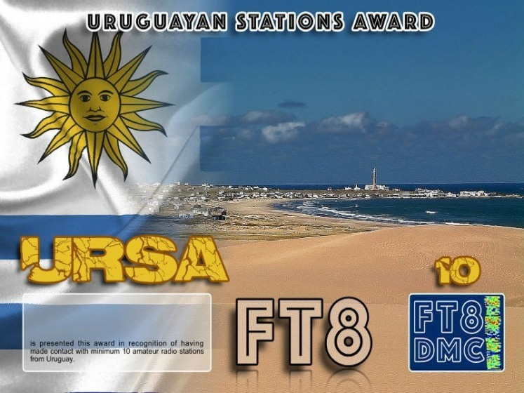 URSA Award Manager LU1DLA In recognition of international two-way FT8 amateur radio communication, the FT8 Digital Mode Club (FT8DMC) issues Uruguayan-Stations-Award certificates to amateur radio stations and SWL of the world. Qualification for the FT8 URSA award is based on an examination by the FT8 URSA Award Manager. The applicant has to prove that he has made contact with at least 10 different amateur radio stations from Uruguay. All contacts must be made from the same country (DXCC entity). Levels: CLASSIII: 10Stationsworked CLASS II: 25 Stations worked CLASS I: 50 Stations worked