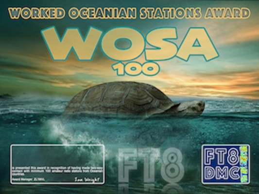 WOSA Award Manager ZL1MVL In recognition of international two-way FT8 amateur radio communication, the FT8 Digital Mode Club (FT8DMC) issues Worked-Oceanian-Stations-Award certificates to amateur radio stations of the world. Qualification for the FT8 WOSA award is based on an examination by the FT8 WOSA Award Manager, from QSOs that the applicant has made contact with minimum 100 Oceanian amateur radio stations each having a different callsign.All contacts must be made from the same country (DXCC-entity). Levels: 100, 200, 300, 400, 500, 600, 700, 800, 900, 1000, 1100, 1200, 1300, 1400, 1500, 1600, 1700, 1800, 1900