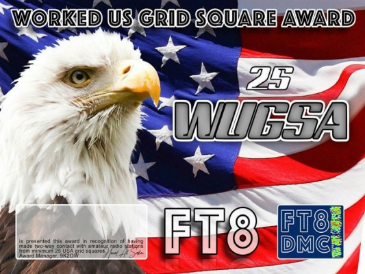 WUGSA Award Manager 9K2OW In recognition of international two-way FT8 amateur radio communication, the FT8 Digital Mode Club (FT8DMC) issues Worked-US-Grid-Square-Award certificates to amateur radio stations and SWL of the world. Qualification for the FT8 WUGSA award is based on an examination by the FT8 WUGSA Award Manager. The applicant has to prove that he has made contact with amateur radio stations from minimum 25 different US Grid Locators. All contacts must be made from the same country (DXCC-entity) Following levels available: 25,50,75,100,150,200,300, 400, 500, 600, ALL USA Grid Locators worked.