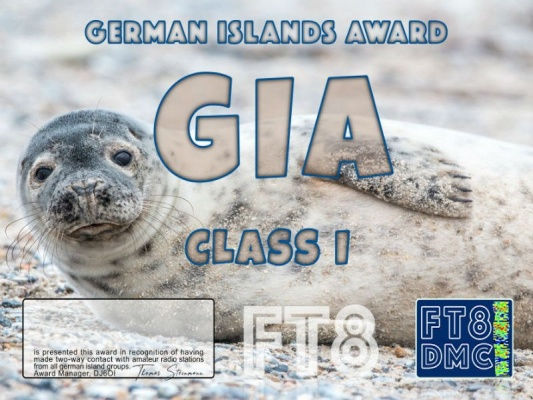 GIA Award Manager DJ6OI In recognition of international two-way FT8 amateur radio communication, the FT8 Digital Mode Club (FT8DMC) issues the German-Islands-Award certificates to amateur radio stations of the world. Qualification for the GIA award is based on an examination by the GIA Award Manager, from QSOs that the applicant has made with amateur radio stations from minimum 2 islands from the 6 German Islands Groups ( EU-042, 047, 57, 127, 128, 129). All contacts must be made from the same country. Levels: CLASS III CLASS II CLASS I = 2 Island Groups = 4 Island Groups = 6 Island Groups