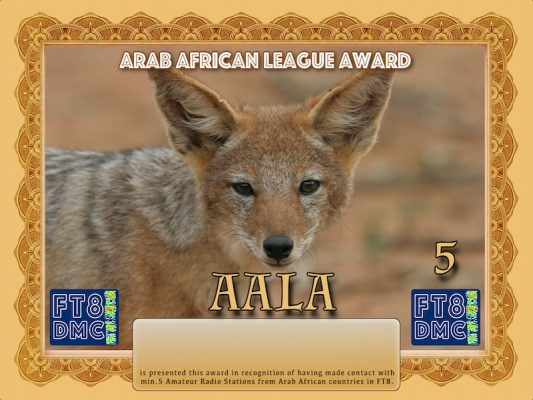 AALA Award Manager A92AA In recognition of international two-way FT8 amateur radio communication, the FT8 Digital Mode Club (FT8DMC) issues Arab-African-League-Award certificates to amateur radio stations and SWL of the world. Qualification for the FT8 AALA award is based on an examination by the FT8 AALA Award Manager. The applicant has to prove that he has made contact with minimum 5 amateur radio stations from Arab countries: 7O, SU, 7X, 5A, 5T, ST, 3V, CN, D6, J2, T5, E3. All contacts must be made from the same country (DXCC-entity). Following levels available: Bonze 5, Silver 10, Gold 15