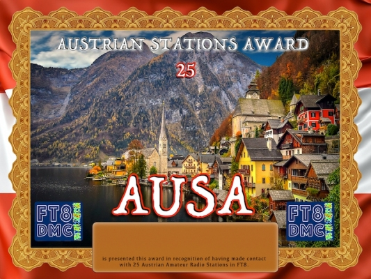 AUSA Award Manager OE4VIE In recognition of international two-way FT8 amateur radio communication, the FT8 Digital Mode Club (FT8DMC) issues Austrian-Stations-Award certificates to amateur radio stations and SWL of the world. Qualification for the FT8 AUSA award is based on an examination by the FT8 AUSA Award Manager. The applicant has to prove that he has made contact with at least 25 different amateur radio stations from Austra. All contacts must be made from the same country (DXCC entity). Levels: 25, 50, 100, 200, 300, 400, 500