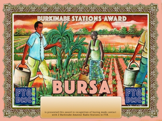 BURSA Award Manager DJ6OI In recognition of international two-way FT8 amateur radio communication, the FT8 Digital Mode Club (FT8DMC) issues Burkinabe-Stations-Award certificates to amateur radio stations and SWL of the world. Qualification for the FT8 BURSA award is based on an examination by the FT8 BURSA Award Manager. The applicant has to prove that he has made contact with at least 2 different amateur radio stations from Burkina Faso. All contacts must be made from the same country (DXCC entity).