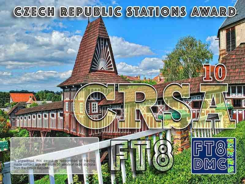 CRSA Award Manager OE4VIE In recognition of international two-way FT8 amateur radio communication, the FT8 Digital Mode Club (FT8DMC) issues Czech Republic-Stations-Award certificates to amateur radio stations and SWL of the world. Qualification for the FT8 CRSA award is based on an examination by the FT8 CRSA Award Manager. The applicant has to prove that he has made contact with at least 10 different amateur radio stations from the Czech Republic. All contacts must be made from the same country (DXCC entity). Levels: CLASS III:10 Stations worked CLASS II: 25 Stations worked CLASS I: 50 Stations worked
