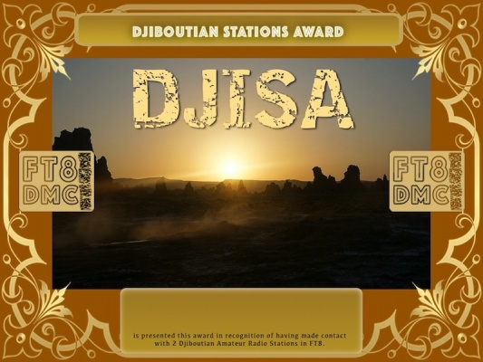 DJISA Award Manager A92AA In recognition of international two-way FT8 amateur radio communication, the FT8 Digital Mode Club (FT8DMC) issues Djiboutian-Stations-Award certificates to amateur radio stations and SWL of the world. Qualification for the FT8 DJISA award is based on an examination by the FT8 DJISA  Award Manager. The applicant has to prove that he has made contact with at least 2 different amateur radio stations from Djibouti. All contacts must be made from the same country (DXCC entity).
