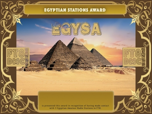 EGYSA Award Manager A92AA In recognition of international two-way FT8 amateur radio communication, the FT8 Digital Mode Club (FT8DMC) issues Egyptian-Stations-Award certificates to amateur radio stations and SWL of the world. Qualification for the FT8 DJISA award is based on an examination by the FT8 DJISA Award Manager. The applicant has to prove that he has made contact with at least 3 different amateur radio stations from Egypt. All contacts must be made from the same country (DXCC entity).