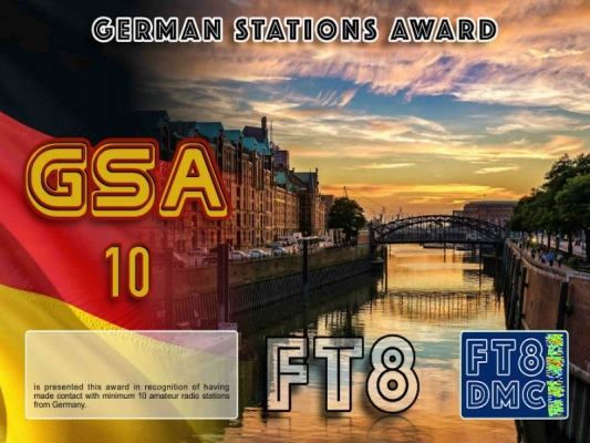 GSA Award Manager DM2RM In recognition of international two-way FT8 amateur radio communication, the FT8 Digital Mode Club (FT8DMC) issues German-Stations-Award certificates to amateur radio stations and SWL of the world. Qualification for the FT8 GSA award is based on an examination by the FT8 GSA Award Manager. The applicant has to prove that he has made contact with at least 10 different amateur radio stations from Germany. All contacts must be made from the same country (DXCC entity). Levels: 10,25,50,100,200,300,400,500,600,700,800,900, 1000