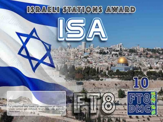 ISA Award Manager DK5UR In recognition of international two-way FT8 amateur radio communication, the FT8 Digital Mode Club (FT8DMC) issues Israeli-Stations-Award certificates to amateur radio stations and SWL of the world. Qualification for the FT8 ISA award is based on an examination by the FT8 ISA Award Manager. The applicant has to prove that he has made contact with at least 10 different amateur radio stations from Israel. All contacts must be made from the same country (DXCC entity). Levels: CLASSIII: 10Stationsworked CLASS II: 25 Stations worked CLASS I: 50 Stations worked