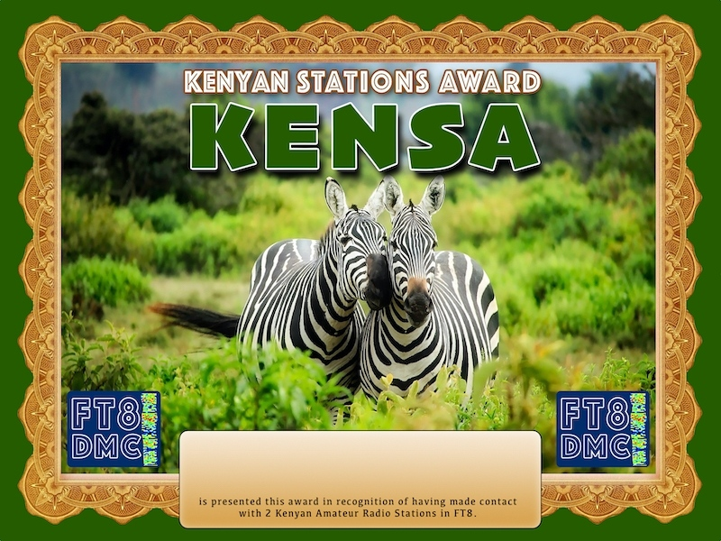 KENSA Award Manager A92AA  in recognition of international two-way FT8 amateur radio communication, the FT8 Digital Mode Club (FT8DMC) issues Kenyan-Stations-Award certificates to amateur radio stations and SWL of the world. Qualification for the FT8 KENSA award is based on an examination by the FT8 KENSA Award Manager. The applicant has to prove that he has made contact with at least 2 different amateur radio stations from Kenya. All contacts must be made from the same country (DXCC entity).