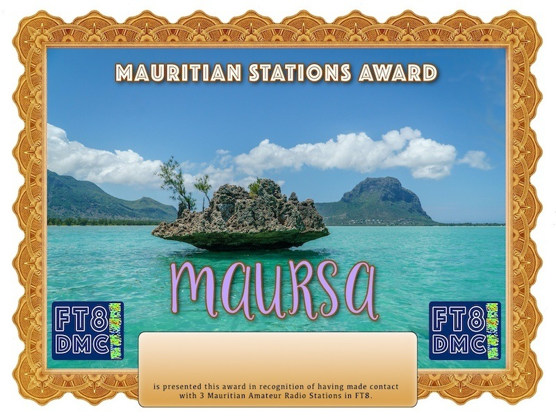 MAURSA Award Manager A92AA In recognition of international two-way FT8 amateur radio communication, the FT8 Digital Mode Club (FT8DMC) issues Mauritian-Stations-Award certificates to amateur radio stations and SWL of the world. Qualification for the FT8 MAURSA award is based on an examination by the FT8 MAURSA Award Manager. The applicant has to prove that he has made contact with at least 3 different amateur radio stations from Mauritius.