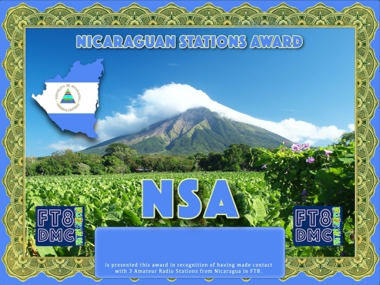 NSA Award Manager DJ6OI In recognition of international two-way FT8 amateur radio communication, the FT8 Digital Mode Club (FT8DMC) issues Nicaraguan-Stations-Award certificates to amateur radio stations and SWL of the world. Qualification for the FT8 BESA award is based on an examination by the FT8 NSA Award Manager. The applicant has to prove that he has made contact with at least 3 different amateur radio stations from Nicaragua. All contacts must be made from the same country (DXCC entity).