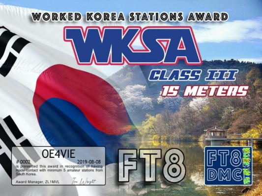 WKSA Award Manager ZL1MVL In recognition of international two-way FT8 amateur radio communication, the FT8 Digital Mode Club (FT8DMC) issues Worked-Korea-Stations-Award certificates to amateur radio stations and SWL of the world. Qualification for the FT8 WKSA award is based on an examination by the FT8 WKSA Award Manager. The applicant has to prove that he has made contact with at least 5 different amateur radio stations from Korea.. All contacts must be made from the same country (DXCC entity). Band endorsements for 2, 4, 6, 10, 12, 15, 17, 20, 30, 40, 60, 80 and 160m available. Levels: CLASS III: 5 Stations worked CLASS II: 25 Stations worked CLASS I: 50 Stations worked