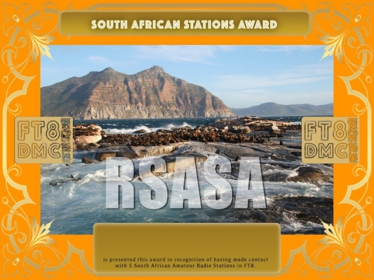 RSASA Award Manager A92AA recognition of international two-way FT8 amateur radio communication, the FT8 Digital Mode Club (FT8DMC) issues South African-Stations-Award certificates to amateur radio stations and SWL of the world. Qualification for the FT8 RSASA award is based on an examination by the FT8 RSASA Award Manager. The applicant has to prove that he has made contact with at least 5 different amateur radio stations from South Africa. All contacts must be made from the same country (DXCC entity)Following levels available: Bonze 5, Silver 25, Gold 50, Platinum 100