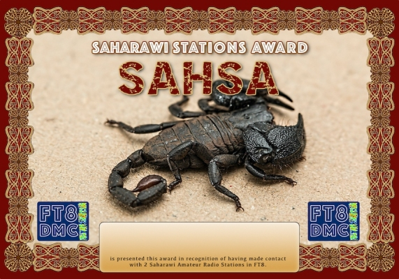 SAHSA Award Manager DK5UR In recognition of international two-way FT8 amateur radio communication, the FT8 Digital Mode Club (FT8DMC) issues Saharawi-Stations-Award certificates to amateur radio stations and SWL of the world. Qualification for the FT8 SAHSA award is based on an examination by the FT8 SAHSA Award Manager. The applicant has to prove that he has made contact with at least 2 different amateur radio stations from Sahara. All contacts must be made from the same country (DXCC entity).