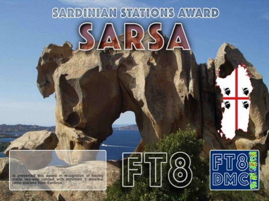 SARSA Award Manager IK8YFU In recognition of international two-way FT8 amateur radio communication, the FT8 Digital Mode Club (FT8DMC) issues Sardinia-Stations-Award certificates to amateur radio stations and SWL of the world. Qualification for the FT8 SARSA award is based on an examination by the FT8 SARSA Award Manager. The applicant has to prove that he has made contact with at least 5 different amateur radio stations from Sardinia. All contacts must be made from the same country (DXCC entity).