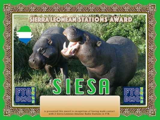 SIESAAward Manager DJ6OI In recognition of international two-way FT8 amateur radio communication, the FT8 Digital Mode Club (FT8DMC) issues Sierra Leonean-Stations-Award certificates to amateur radio stations and SWL of the world. Qualification for the FT8 SIESA award is based on an examination by the FT8 SIESA Award Manager. The applicant has to prove that he has made contact with at least 2 different amateur radio stations from Sierra Leone. All contacts must be made from the same country (DXCC entity).