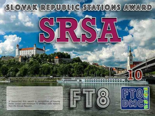 SRSA Award Manager OE4VIE In recognition of international two-way FT8 amateur radio communication, the FT8 Digital Mode Club (FT8DMC) issues Slovak Republic-Stations-Award certificates to amateur radio stations and SWL of the world. Qualification for the FT8 SRSA award is based on an examination by the FT8 SRSA Award Manager. The applicant has to prove that he has made contact with at least 10 different amateur radio stations from the Slovak Republic. All contacts must be made from the same country (DXCC entity). Levels: CLASS III:10 Stations worked CLASS II: 25 Stations worked CLASS I: 50 Stations worked