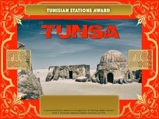 TUNSA Award Manager A92AA In recognition of international two-way FT8 amateur radio communication, the FT8 Digital Mode Club (FT8DMC) issues Tunisian-Stations-Award certificates to amateur radio stations and SWL of the world. Qualification for the FT8 TUNSA award is based on an examination by the FT8 TUNSA Award Manager. The applicant has to prove that he has made contact with at least 2 different amateur radio stations from Tunisia. All contacts must be made from the same country (DXCC entity).
