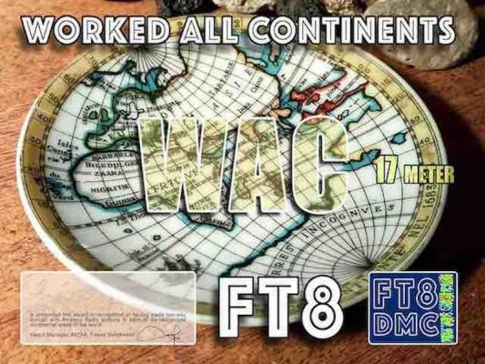 WAC Award Manager A92AA In recognition of international two-way FT8 amateur radio communication, the FT8 Digital Mode Club (FT8DMC) issues Worked-All-Continents certificates to amateur radio stations of the world. Qualification for the FT8 WAC award is based on an examination by the FT8 WAC Award Manager, from QSOs that the applicant has made with amateur stations in each of the six continental areas of the world, which are named Africa, Asia, Europe, Oceania, North America and South America. All contacts must be made from the same country or separate territory within the same continental area of the world. Band endorsements for 6, 10, 12, 15, 17, 20, 30, 40, 80 and 160m available.