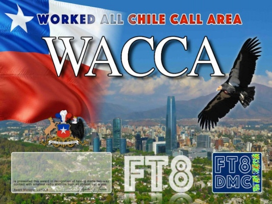 WACCA Award Manager LU1DLA In recognition of international two-way FT8 amateur radio communication, the FT8 Digital Mode Club (FT8DMC) issues Worked-All-Chile-Call-Area certificates to amateur radio stations of the world. Qualification for the FT8 WACCA award is based on an examination by the FT8 WACCA Award Manager, from QSOs that the applicant has made contacts with one amateur radio station from each Chilean Call Area ( CE1, CE2, CE3, CE4, CE5, CE6, CE7, CE8 ) . All contacts must be made from the same country. Band endorsements for 2, 4, 6, 10, 12, 15, 17, 20, 30, 40, 60, 80 and 160m available.