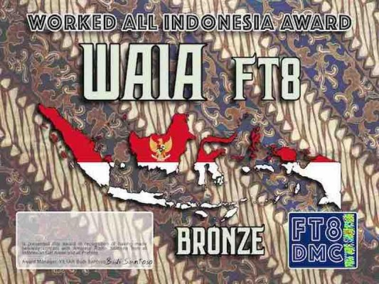 WAIA Award Manager YE1AR In recognition of international two-way FT8 amateur radio communication, the FT8 Digital Mode Club (FT8DMC) issues Worked-All-Indonesia-Award certificates to amateur radio stations and SWL of the world. Qualification for the FT8 WAIA award is based on an examination by the FT8 WAIA Award Manager. The applicant has to prove that he has made contact with amateur radio stations from all call area and all prefix. Following levels available: Bronze 20 Silver 40 Gold ALL 60 All contacts must be made from the same country (DXCC-entity). Band endorsements available: YB/YE only qrv on 12/17/30, YB/YE/YC/YF only 6/20/160, YB/YE/YC/YF/YD/YG only 10/15/40/80 Bronze available: 6/10/12/15/17/20/30/40/80/160 Silver available: 6/10/15/20/40/80/160 Gold available: 10/15/40/80