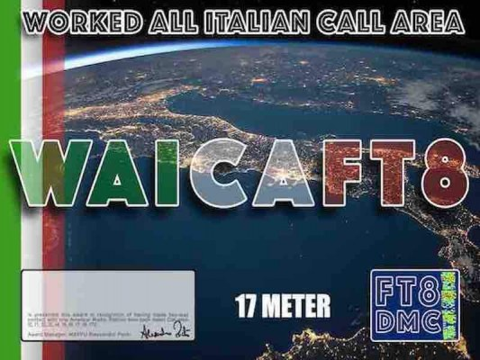 WAICA Award Manager IK8YFU In recognition of international two-way FT8 amateur radio communication, the FT8 Digital Mode Club (FT8DMC) issues Worked-All-Italian-Call-Area certificates to amateur radio stations of the world. Qualification for the FT8 WAICA award is based on an examination by the FT8 WAICA Award Manager, from QSOs that the applicant has made with one amateur radio station from each Italian Call Area ( I0, I1, I2, I3, I4, I5, I6, I7, I8, IT9 ) . All contacts must be made from the same country. Band endorsements for 6, 10, 12, 15, 17, 20, 30, 40, 80 and 160m available.