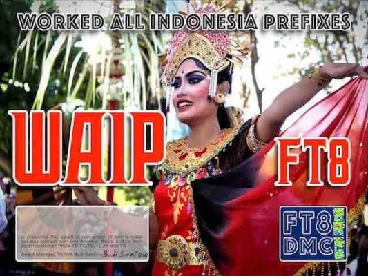 WAIP Award Manager YE1AR In recognition of international two-way FT8 amateur radio communication, the FT8 Digital Mode Club (FT8DMC) issues Worked-All-Indonesia-Prefixes certificates to amateur radio stations of the world. Qualification for the FT8 WAIP award is based on an examination by the FT8 WAIP Award Manager, from QSOs that the applicant has made contact with Indonesian amateur radio stations from each Indonesian Prefix: YB, YC, YD, YE, YF and YG Band endorsements for 10, 15, 40, 80 All contacts must be made from the same country.