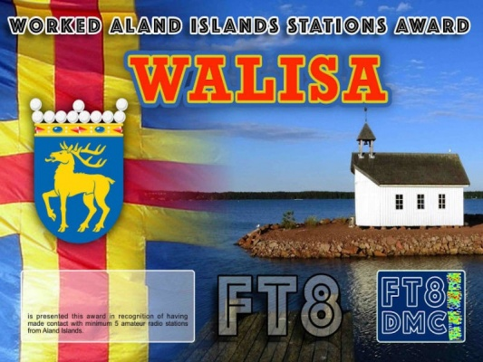 WALISA Award Manager OE1SGU In recognition of international two-way FT8 amateur radio communication, the FT8 Digital Mode Club (FT8DMC) issues Worked-Aland Islands-Stations-Award certificates to amateur radio stations and SWL of the world. Qualification for the FT8 WALISA award is based on an examination by the FT8 WALISA Award Manager. The applicant has to prove that he has made contact with at least 5 different amateur radio stations from the Aland Islands. All contacts must be made from the same country (DXCC entity).