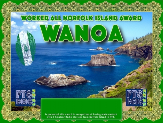 WANOA Award Manager ZL1MVL In recognition of international two-way FT8 amateur radio communication, the FT8 Digital Mode Club (FT8DMC) issues Worked-All-Norfolk Island-Award certificates to amateur radio stations and SWL of the world. Qualification for the FT8 WANOA award is based on an examination by the FT8 WANOA Award Manager. The applicant has to prove that he has made contact with at least 2 different amateur radio stations from Norfolk Island. All contacts must be made from the same country (DXCC entity)