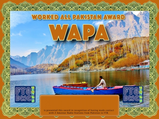 WAPA Award Manager 9K2OW In recognition of international two-way FT8 amateur radio communication, the FT8 Digital Mode Club (FT8DMC) issues Worked-All-Pakistan-Award certificates to amateur radio stations and SWL of the world. Qualification for the FT8 WAPA  award is based on an examination by the FT8 WAPA Award Manager. The applicant has to prove that he has made contact with at least 2 different amateur radio stations from Pakistan. All contacts must be made from the same country (DXCC entity)