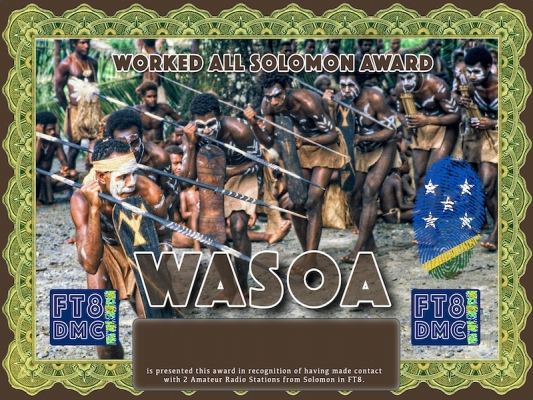 WASOA Award Manager ZL1MVL In recognition of international two-way FT8 amateur radio communication, the FT8 Digital Mode Club (FT8DMC) issues Worked-All-Solomon-Award certificates to amateur radio stations and SWL of the world. Qualification for the FT8 WASOA award is based on an examination by the FT8 WASOA Award Manager. The applicant has to prove that he has made contact with at least 2 different amateur radio stations from Solomon Island. All contacts must be made from the same country (DXCC entity)