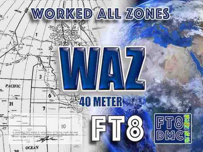 WAZ Award Manager OE1SGU In recognition of international two-way FT8 amateur radio communication, the FT8 Digital Mode Club (FT8DMC) issues Worked-All-Zones certificates to amateur radio stations of the world. Qualification for the FT8 WAZ award is based on an examination by the FT8 WAZ Award Manager, from QSOs that the applicant has made with amateur stations in each of the 40 CQ Zones. All contacts must be made from the same country. Band endorsements for 6, 10, 12, 15, 17, 20, 30, 40, 80 and 160m available.