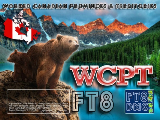 WCPT Award Manager LU1DLA In recognition of international two-way FT8 amateur radio communication, the FT8 Digital Mode Club (FT8DMC) issues the Worked-Canadian-Provinces-&-Territories Award certificates to amateur radio stations of the world. Qualification for the WCPT award is based on an examination by the WCPTAward Manager, from QSOs that the applicant has made with amateur radio stations from all Canadian Provinces and Territories. All contacts must be made from the same country.