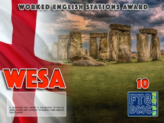 WESA Award Manager ZL1MVL In recognition of international two-way FT8 amateur radio communication, the FT8 Digital Mode Club (FT8DMC) issues Worked-English-Stations-Award certificates to amateur radio stations and SWL of the world. Qualification for the FT8 WESA award is based on an examination by the FT8 WESA Award Manager. The applicant has to prove that he has made contact with at least 10 different amateur radio stations from England. All contacts must be made from the same country (DXCC entity). Levels: CLASSIII: 10Stationsworked CLASS II: 25 Stations worked CLASS I: 50 Stations worked