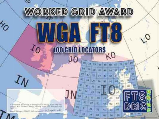 WGA Award Manager F1ULQ In recognition of international two-way FT8 amateur radio communication, the FT8 Digital Mode Club (FT8DMC) issues Worked-GRID-Award certificates to amateur radio stations and SWL of the world. Qualification for the FT8 WGA award is based on an examination by the FT8 WGA Award Manager. The applicant has to prove that he has made contact with amateur radio stations from 100 different Grid Locators. Following levels available: 100, 200, 300, 400, 500, 750, 1000, 1500, 2000, 2500, 3000, 3500, 4000, 4500, 5000 different Grid Locators worked.All contacts must be made from the same country (DXCC-entity).