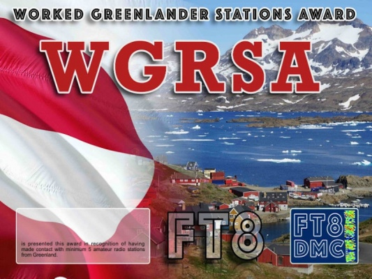 WGRSA Award Manager DJ6OI In recognition of international two-way FT8 amateur radio communication, the FT8 Digital Mode Club (FT8DMC) issues Worked-Greenlander-Stations-Award certificates to amateur radio stations and SWL of the world. Qualification for the FT8 WGRSA award is based on an examination by the FT8 WGRSA Award Manager. The applicant has to prove that he has made contact with at least 5 different amateur radio stations from Greenland. All contacts must be made from the same country (DXCC entity).