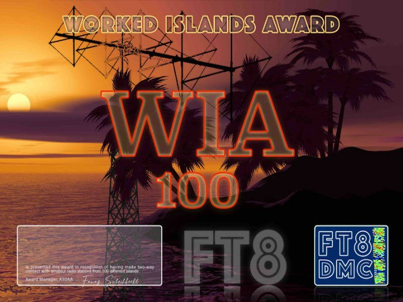 WIA Award Manager A92AA In recognition of international two-way FT8 amateur radio communication, the FT8 Digital Mode Club (FT8DMC) issues the Worked-Islands-Award certificates to amateur radio stations of the world. Qualification for the WIA award is based on an examination by the WIA Award Manager, from QSOs that the applicant has made with amateur radio stations on 100, 200 or 300 Islands from Islands on the Air List . All contacts must be made from the same country. WIA 100 (QSO with 100 Islands) WIA 200 (QSO with 200 Islands) WIA 300 (QSO with 300 Islands)