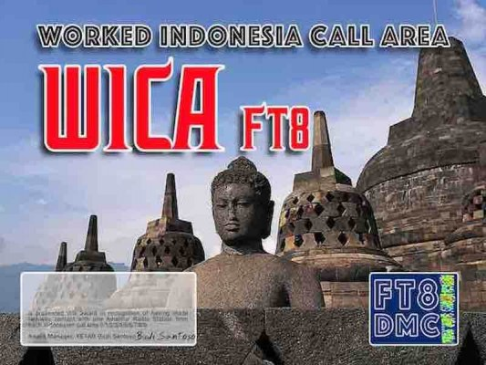 WICA Award Manager YE1AR In recognition of international two-way FT8 amateur radio communication, the FT8 Digital Mode Club (FT8DMC) issues Worked-Indonesia-Call-Area certificates to amateur radio stations and SWL of the world. Qualification for the FT8 WICA award is based on an examination by the FT8 WICA Award Manager. The applicant has to prove that he has made contact with amateur radio stations from all call area 0/1/2/3/4/5/6/7/8/9. Band endorsements for 6, 10, 12, 15, 17, 20, 30, 40, 80 and 160m available. All contacts must be made from the same country (DXCC-entity).