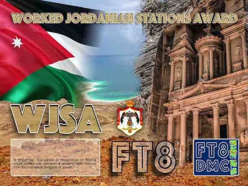 WJSA Award Manager OD5TE In recognition of international two-way FT8 amateur radio communication, the FT8 Digital Mode Club (FT8DMC) issues Worked-Jordanian-Stations-Award certificates to amateur radio stations and SWL of the world. Qualification for the FT8 WJSA award is based on an examination by the FT8 WJSA Award Manager. The applicant has to prove that he has made contact with at least 5 different amateur radio stations from the Hashemite Kingdom of Jordan. All contacts must be made from the same country (DXCC entity).