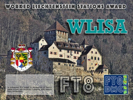 WLISA Award Manager DK5UR In recognition of international two-way FT8 amateur radio communication, the FT8 Digital Mode Club (FT8DMC) issues Worked-Liechtenstein-Stations-Award certificates to amateur radio stations and SWL of the world. Qualification for the FT8 WLISA award is based on an examination by the FT8 WLISA Award Manager. The applicant has to prove that he has made contact with at least 5 different amateur radio stations from Liechtenstein. All contacts must be made from the same country (DXCC entity).