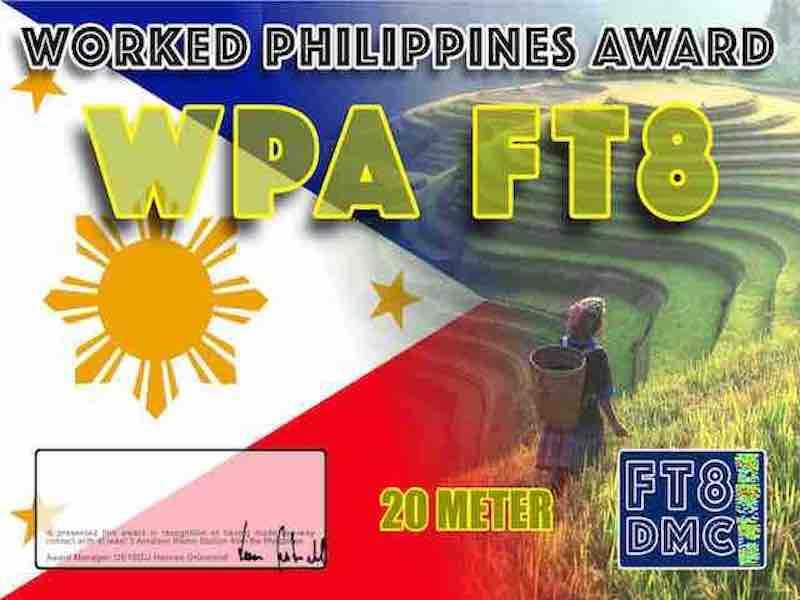 WPA Award Manager OE1SGU In recognition of international two-way FT8 amateur radio communication, the FT8 Digital Mode Club (FT8DMC) issues Worked-Philippines-Award certificates to amateur radio stations and SWL of the world. Qualification for the FT8 WPA award is based on an examination by the FT8 WPA Award Manager. The applicant has to prove that he has made contact with at least 5 different Philippine amateur stations. All contacts must be made from the same country (DXCC-entity). Band endorsements for 6, 10, 12, 15, 17, 20, 30, 40, 80 and 160m available.