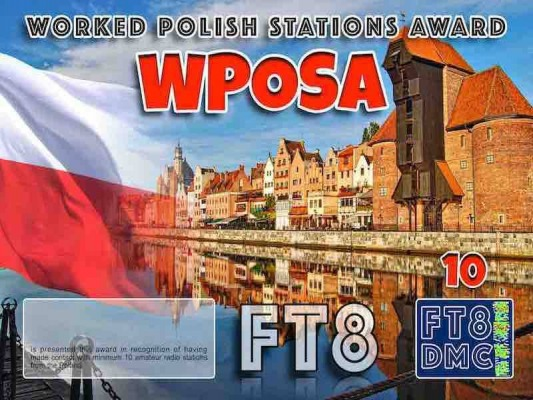 WPOSA Award Manager OE4VIE In recognition of international two-way FT8 amateur radio communication, the FT8 Digital Mode Club (FT8DMC) issues Worked-Polish-Stations-Award certificates to amateur radio stations and SWL of the world. Qualification for the FT8 WPOSA award is based on an examination by the FT8 WPOSA Award Manager. The applicant has to prove that he has made contact with at least 10 different amateur radio stations from Poland. All contacts must be made from the same country (DXCC entity). Levels: CLASSIII: 10 Stations worked CLASS II: 25 Stations worked CLASS I: 50 Stations worked