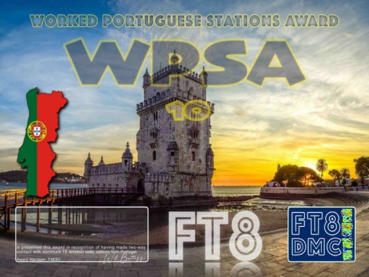 WPSA Award Manager OE1SGU In recognition of international two-way FT8 amateur radio communication, the FT8 Digital Mode Club (FT8DMC) issues Worked-Portuguese-Stations-Award certificates to amateur radio stations and SWL of the world. Qualification for the FT8 WPSA award is based on an examination by the FT8 WPSA Award Manager. The applicant has to prove that he has made contact with at least 10 different amateur radio stations from Portugal. All contacts must be made from the same country (DXCC entity). Band endorsements for 2,4, 6, 10, 12, 15, 17, 20, 30, 40, 60, 80 and 160m available. Levels: 10,50,100,200