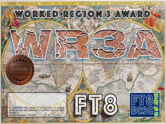 WR3A Award Manager YE1AR In recognition of international two-way FT8 amateur radio communication, the FT8 Digital Mode Club (FT8DMC) issues Worked-Region3-Award certificates to amateur radio stations and SWL of the world. Qualification for the FT8 WR3A award is based on an examination by the FT8 WR3A Award Manager, from QSOs that the applicant has made with minimum 15 Region 3 countries. All contacts must be made from the same country (DXCC-entity). Levels: Bronze 15, Silver 30, Gold 45, Platinum ALL. DXCCs: 3D2,3W,4S,4W,4X,5W,7O,8Q,9K,9M,9N,9V,A3,A4,A5,A6,A7,A9,AP,BY,C2 ,DU,EP,H4,HL,HS,HZ,JA,JT,JY,OD,P2,P5,S2,T2,T3,V6,V7,V8,VK,VU,XU,XW,XZ, YA,YB,YI,YJ,YK,ZL
