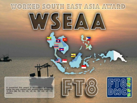 WSEAA Award Manager YE1AR In recognition of international two-way FT8 amateur radio communication, the FT8 Digital Mode Club (FT8DMC) issues the Worked-South-East-Asia-Award certificates to amateur radio stations of the world. Qualification for the WSEAA award is based on an examination by the WSEAA Award Manager, from QSOs that the applicant has made with amateur radio stations of 10 SEA (9M, 9V, DU, HS, V8, XU, XV, XW, XZ, YB) entities. All contacts must be made from the same country (DXCC entity) Band endorsements for 6, 10, 12, 15, 17, 20, 30, 40, 60, 80 and 160m available