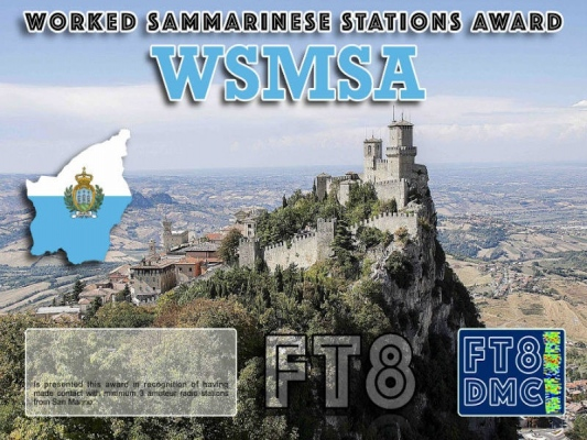 WSMSA Award Manager IK8YFU In recognition of international two-way FT8 amateur radio communication, the FT8 Digital Mode Club (FT8DMC) issues Worked-Sammarinese-Stations-Award certificates to amateur radio stations and SWL of the world. Qualification for the FT8 WSMSA award is based on an examination by the FT8 WSMSA Award Manager. The applicant has to prove that he has made contact with at least 3 different amateur radio stations from San Marino. All contacts must be made from the same country (DXCC entity).